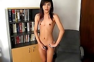 Teen ladyboy at home solo.